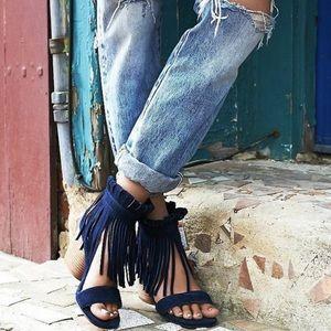Free People Matiko Blue Suede Heel l Size 10